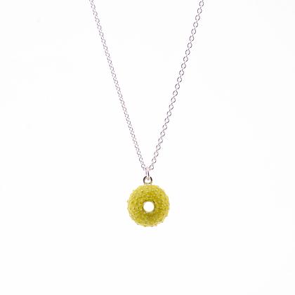 Urchin necklace, green enamel