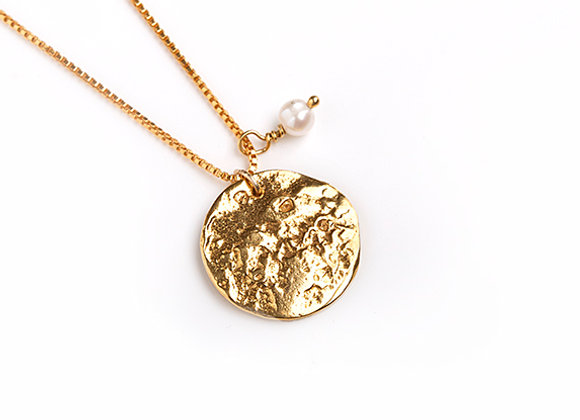 Disc Necklace with Pearl, Gold Plated