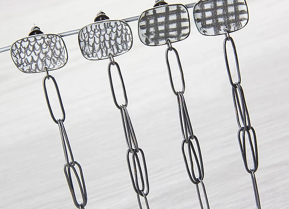 Curved Square Studs and Chain