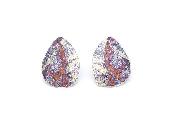 Small Leaf Stud Earrings, Purple