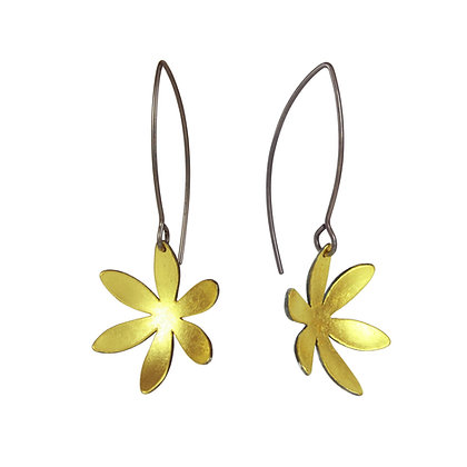 Gold Inlaid Oxidised Silver Flower Earrings
