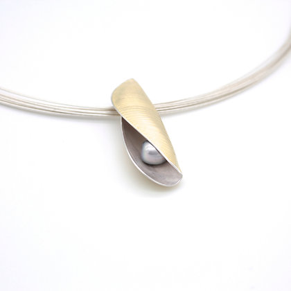 Pod Necklace, Scribed 18ct and Silver