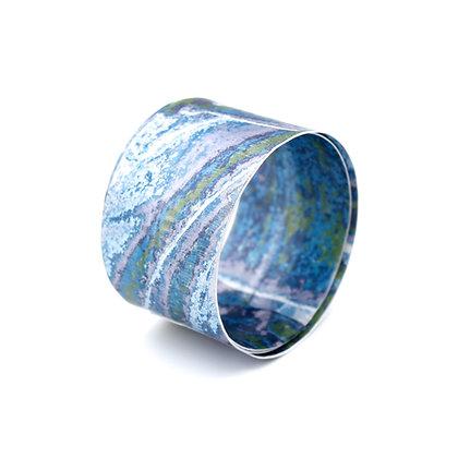 4cm Spiral Bangle, Blue Green