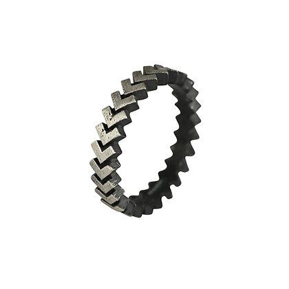 Sync Ring, oxidised silver