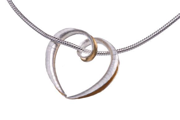 Mini Cornucopia Heart Pendant, Silver and GP