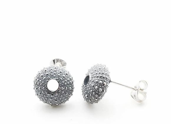 Urchin stud earrings, oxidised silver