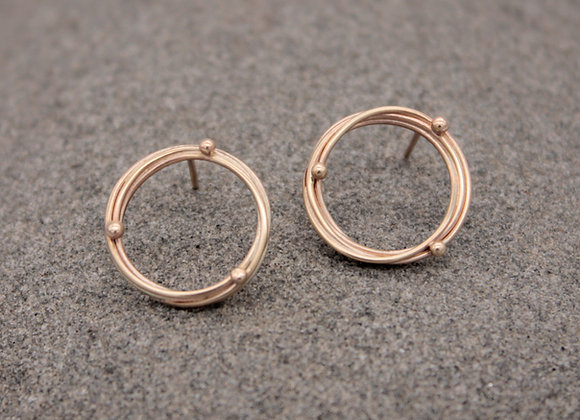 9ct yellow gold halo studs