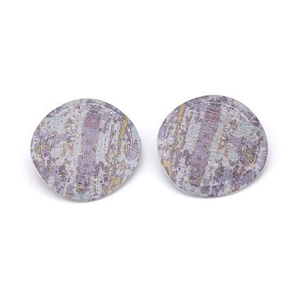 Large Round Stud Earrings, Lavender