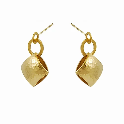 Pillow drop earrings, gold plated