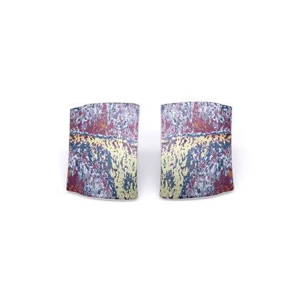 Small Oblong Stud Earrings, Purple