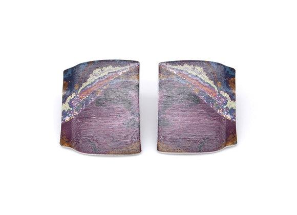Large Oblong Stud Earrings, Purple