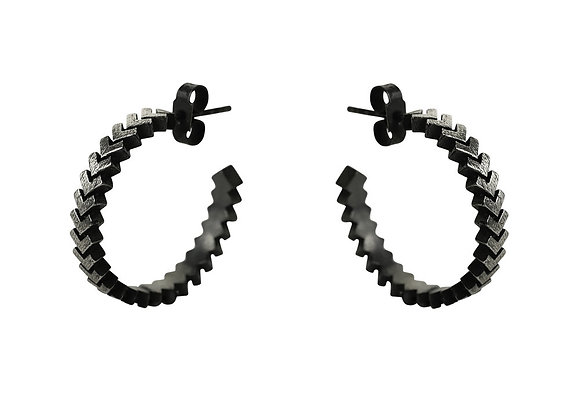 Sync Maxi Hoop Earrings, oxidised silver