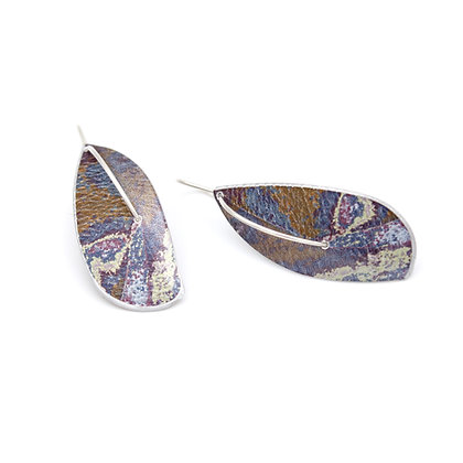 Leaf Drop Earrings on Wires, Purple