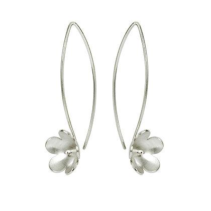 Silver Blossom Long Drop Earring