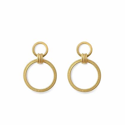 Ellipse Circle Drop Earrings, GP
