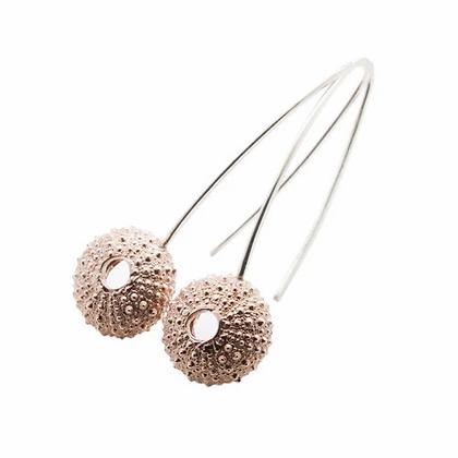Urchin hook earrings, rose gold plated