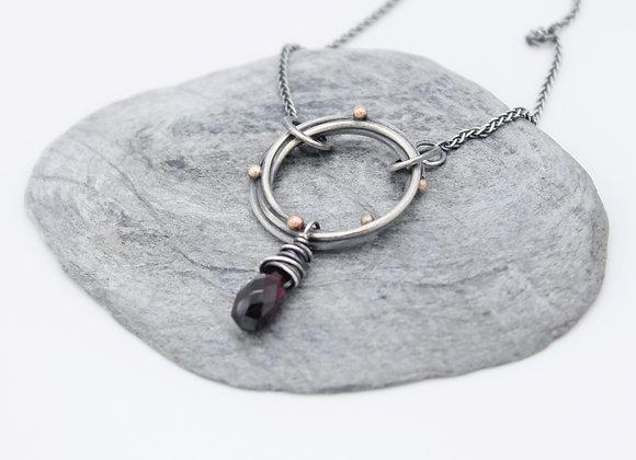 Halo Necklace with Garnet Drop