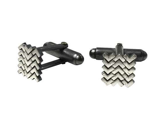 Sync Cufflinks, oxidised silver