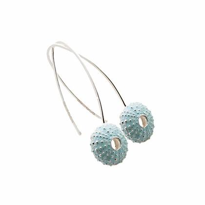 Urchin hook earrings, blue enamel