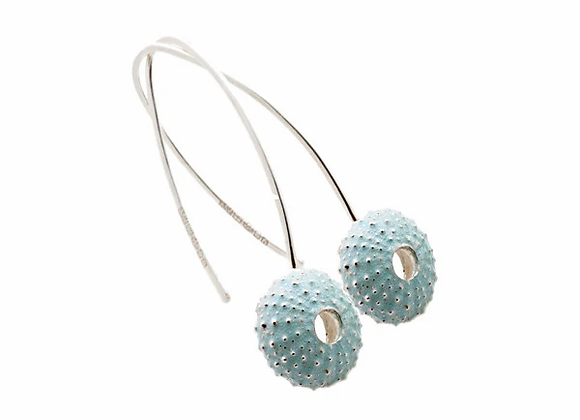Urchin hook earrings, blue enamel