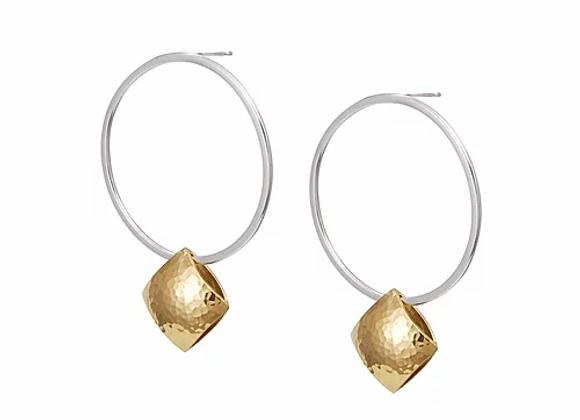 Hoop pillow earrings w. gold plated pillow