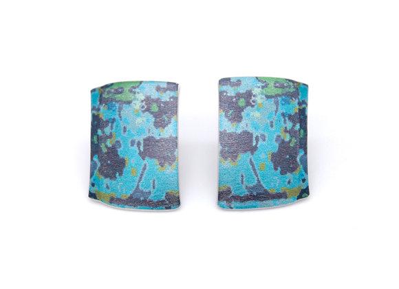 Small Oblong Stud Earrings, Blue