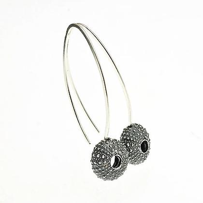 Urchin hook earrings, oxidised silver