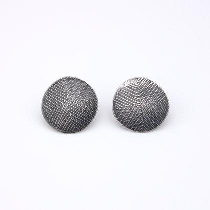 Small Disc Stud Earrings, Oxidised Silver