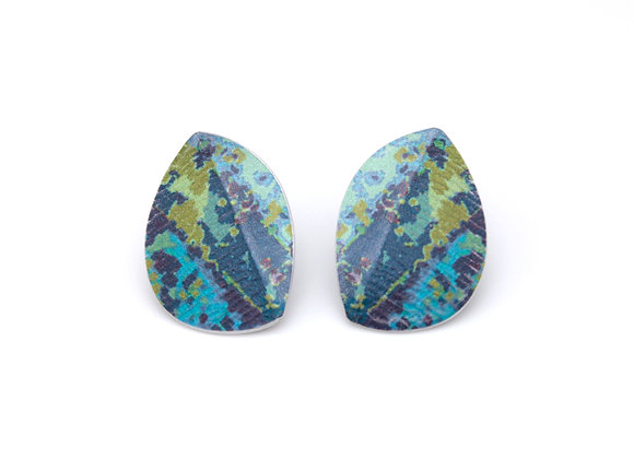 Large Leaf Stud Earrings, Blue