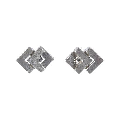 Rhythm Stud Earrings, silver