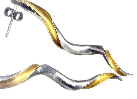 Cornucopia Stud Earrings, Silver and GP
