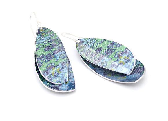 Double Leaf Drop Earrings, Blue
