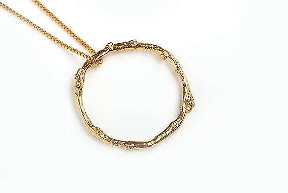 Twig Circle Necklace, GP