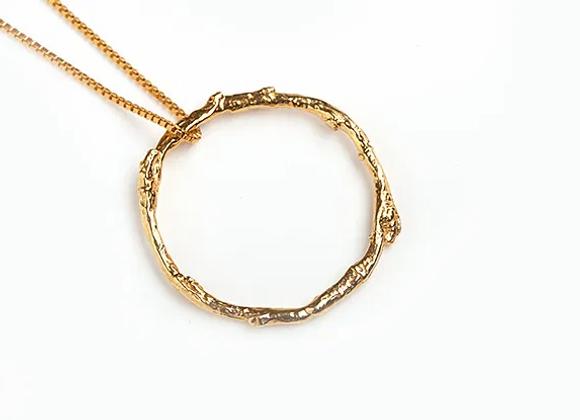 Twig Circle Necklace, GP