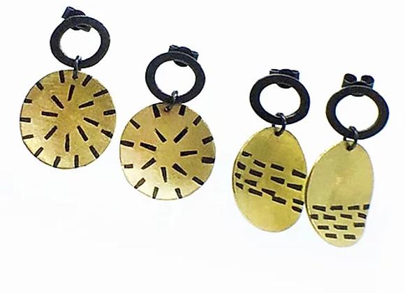Oval Stud with Brass Drop Earrings