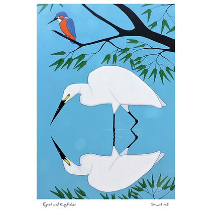 Egret and Kingfisher
