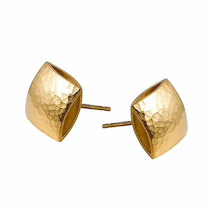 Pillow Stud Earrings, gold plated