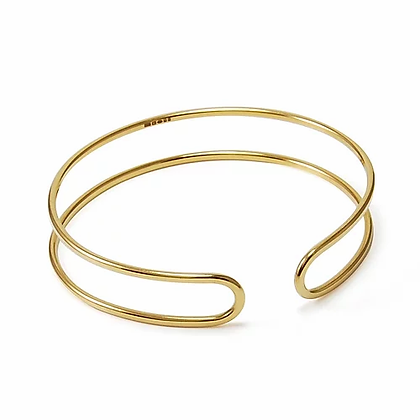 Gold Plated Parallel Curve Open Cuff Bangle