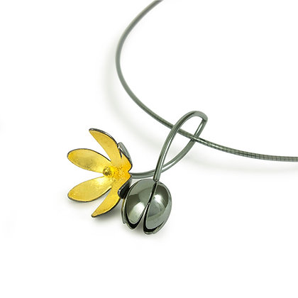 Oxidised Silver Flower and Bud Pendant with Gold Leaf