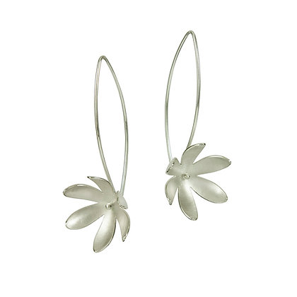 Silver Flower Long Earrings