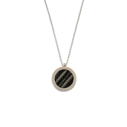 Small Porthole Pendant, Ruthinium and Silver