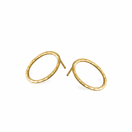 Textured Oval Earrings, Gold Plated
