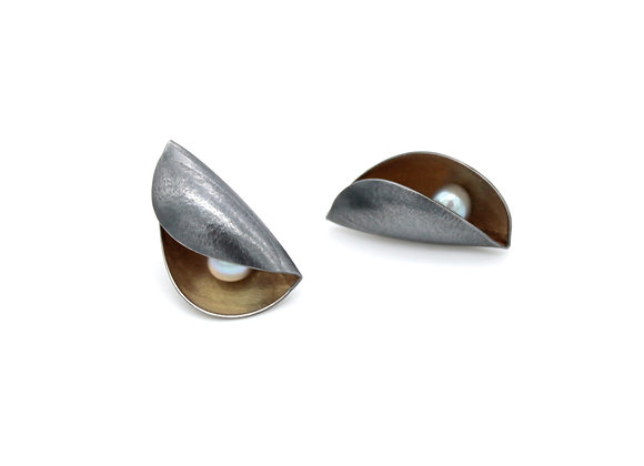 Small Pod Stud Earrings, Oxidised Silver and 18ct