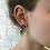 Thumbnail: Oval Stud with Brass Drop Earrings