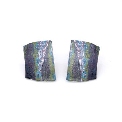 Small Oblong Stud Earrings, Blue Green