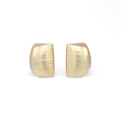 Medium Folded Clip Stud Earrings, 18ct and Silver