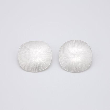 Large Disc Stud Earrings, Fine Silver