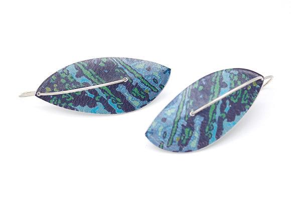 Medium Leaf Drop Earrings on Wires, Blue