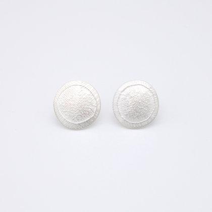 Small Disc Stud Earrings, Fine Silver