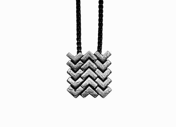 Sync Square Pendant, oxidised silver